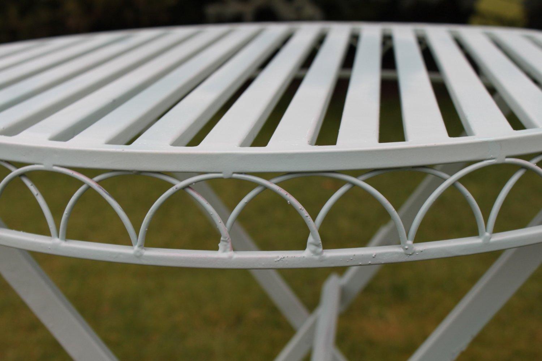 Ensemble bistro de jardin pliant en métal style Versailles finition ...
