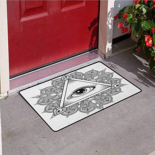 Gloria Johnson Eye Inlet Outdoor Door mat Vintage All Seeing Eye Tattoo Symbol with Boho Mandala Providence Spirit Occultism Catch dust Snow and mud W15.7 x L23.6 Inch Black White