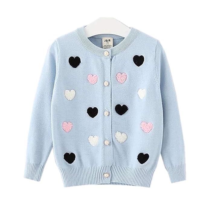 6b15e735100e Amazon.com  KIMJUN Toddler Baby Girls Cardigan Sweater Kid Knit ...