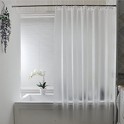 Eforcurtain Subtle Semi Transparent Shower Curtain 18 Gauge PEVA Bathtub Waterproof And No Odors