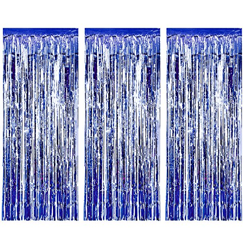 ic Tinsel Curtains, Foil Fringe Shimmer Curtain Door Window Decoration for Birthday Wedding Party (Blue) (Shimmer Fringe)