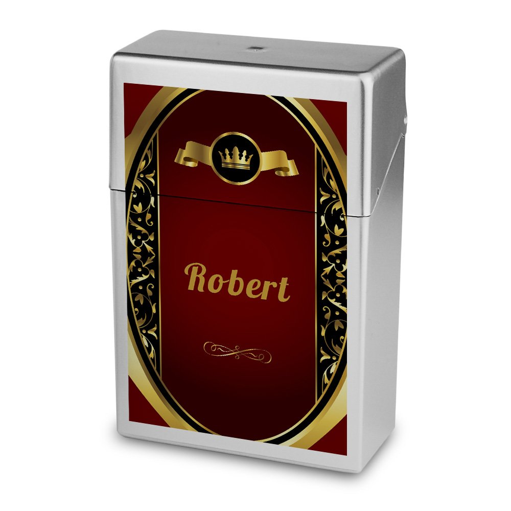 Zigarettenbox mit Namen Robert - Personalisierte Hü lle mit Design Wappen - Zigarettenetui, Zigarettenschachtel, Kunststoffbox