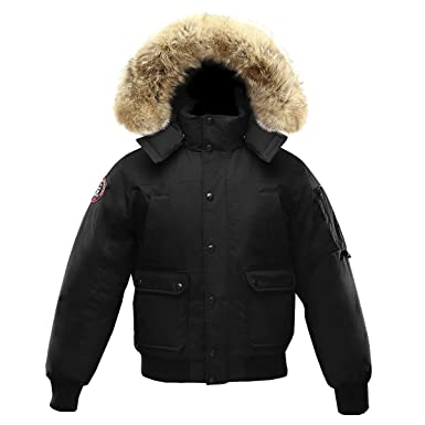 Triple F.A.T. Goose Grinnell Mens Goose Down Bomber Jacket with Real Coyote  Fur (XXX- 2f778b55e0a5