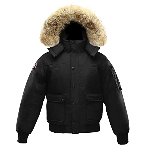 Triple F.A.T. Goose Grinnell Mens Goose Down Bomber Jacket with Real Coyote  Fur (XXX- 01c916691e8b