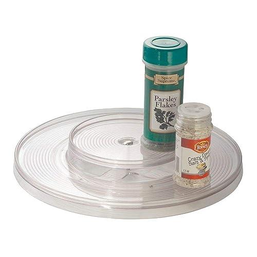 Corbeille de rangement mDesign Lazy Susan avec module rotatif pour épices ou condiments pour placards et plans de travail de cuisine - 2 compartiments, Transparent