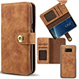 Samsung Galaxy Note 8 Case [Detachable Adsorption] Samsung Note 8 Wallet Cell Phone Case iSauerkraut Luxury Flip Leather Magnetic Cover with Card Pocket for Samsung Galaxy Note8 Case (Brown)