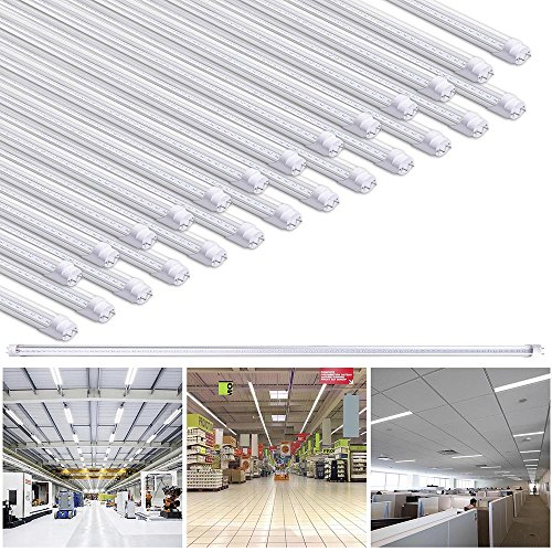 Yescom 4Ft T8 LED Tube 6500K Fluorescent Tube Retrofit Replacement, Clear Cover Dual-Ended, 18W T8 LED Bulbs, 25 Pack by Yescom