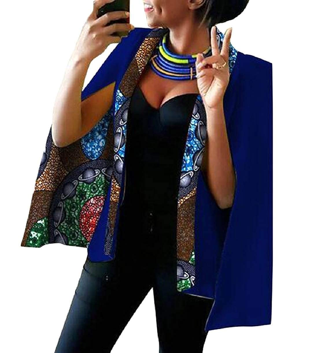 10 KLJR Women Cape Dashiki Split Open Front Plus Size African Printed Blazer