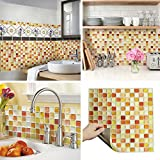 UNIDESIGN BEAUSTILE Decorative Tile Stickers Peel and Stick Backsplash Fire retardant tile sheet (2pcs) (Crack orange)