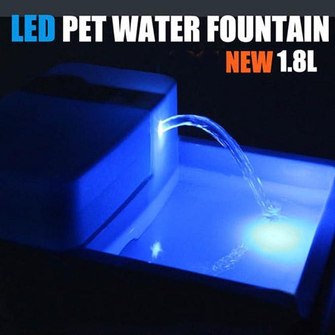 1.8L automático LED Pet Fountain agua Cat Dog Bowl Drinking Dish Filter Pet Drinker: Amazon.es: Productos para mascotas