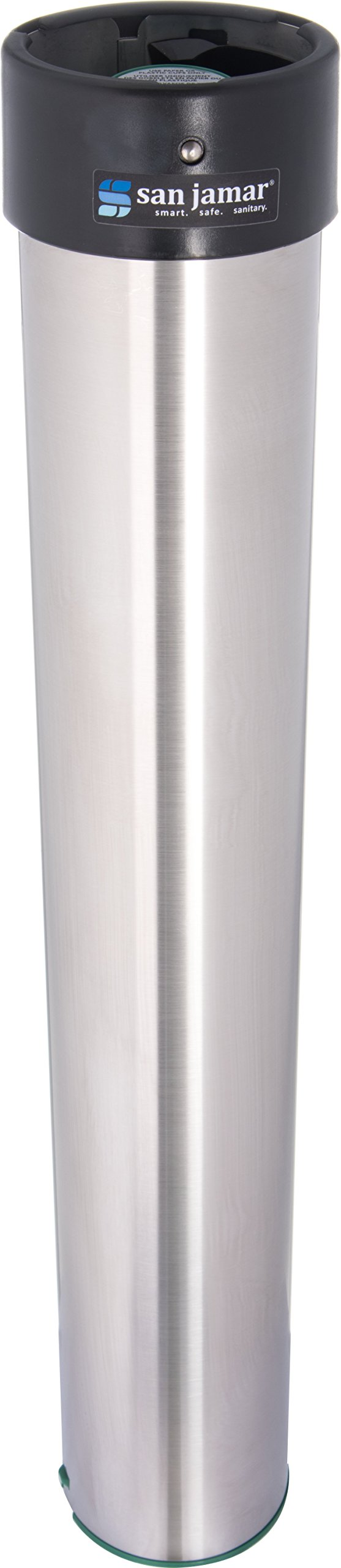 San Jamar C3200E Stainless Steel Vertical Surface Mount Beverage Cup Dispenser, Fits 6oz to 10oz Cup Size, 2-7/32'' to 3-3/16'' Rim, 23-1/2'' Tube Length