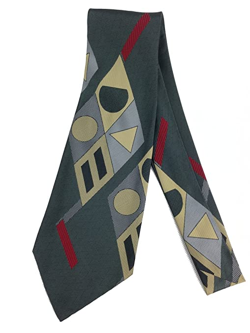 Men's Vintage Christmas Gift Ideas Geometrical Diamond Abstract Tie - 1970s Jacquard Weave Wide Kipper Necktie - Grey $22.90 AT vintagedancer.com