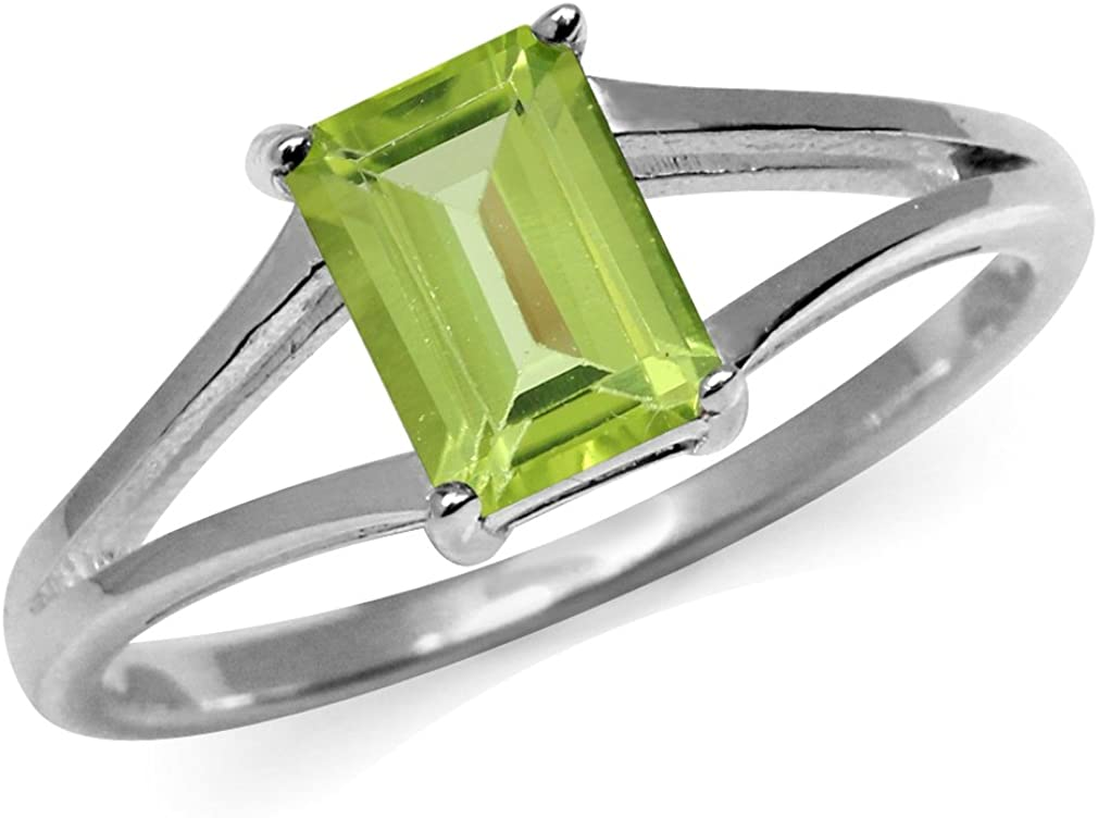 Silvershake 1.08ct. Natural Octagon Shape Peridot White Gold Plated 925 Sterling Silver Solitaire Ring