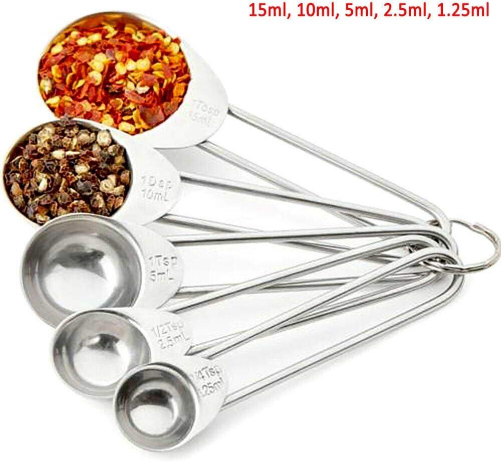 2,5 ml Lot de 5 cuill/ères /à mesurer en acier inoxydable BE-TOOL en acier inoxydable de 15 ml 10 ml 5 ml 1,25 ml