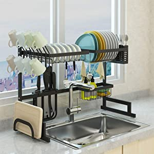 SKOLOO Over Sink Dish Drying Rack, Adjustable Stainless Steel Above Sink Dish Rack, Over Counter Dish Drying Rack, Kitchen Drainage Rack Organizer