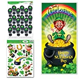 #7: St Patrick's Day Decoration Bundle: Wall/Window Clings, Door Cover, and Leprechaun Footprint Floor Clings