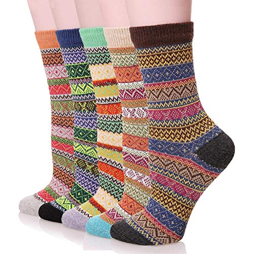 Yshare Women's Super Thick Crew Soft Wool Winter Comfortable Warm Socks (Pack of 3-5), One Size (5-9), Multicolor