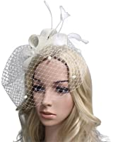 Urban CoCo Women's Bow Feather Net and Veil Fascinator Cocktail Party Hair Clip Hat