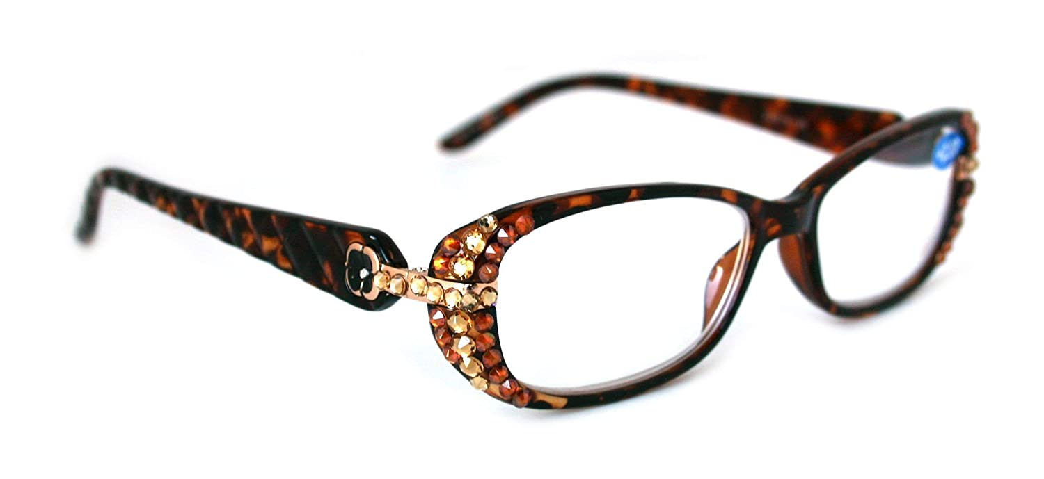 a6cf21968bd8 Glamour Quilted, Women Reading Glasses BLING Adorned With Hematite + Light  Colorado SWAROVSKI Crystal +1.25 +1.50 +1.75 +2.00 +2.25 +2.50 +2.75 +3.00  in ...