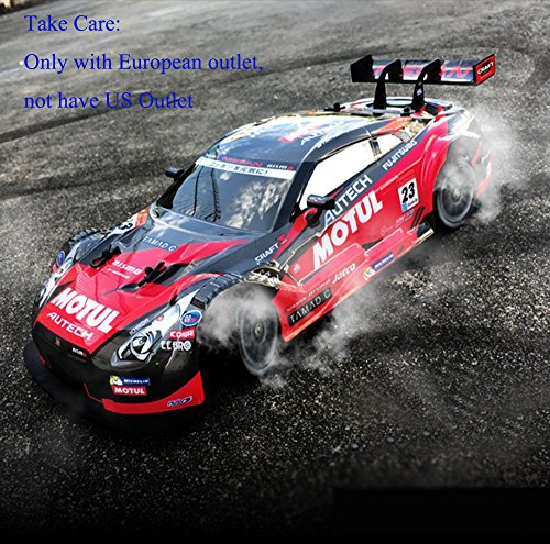 Super GT RC Sport Racing Drift Car 1:16 Remote Control Module 4WD RTR with 6 Battery and Drift tires (European outlet )