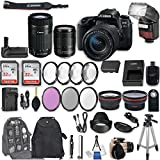 Canon EOS 77D DSLR Camera with EF-S 18-135mm f/3.5-5.6 IS USM Lens + EF-S 55-250mm f/4-5.6 IS STM Lens + 2Pcs 32GB Sandisk SD Memory + Automatic Flash + Battery Grip + Filter & Macro Kits + More