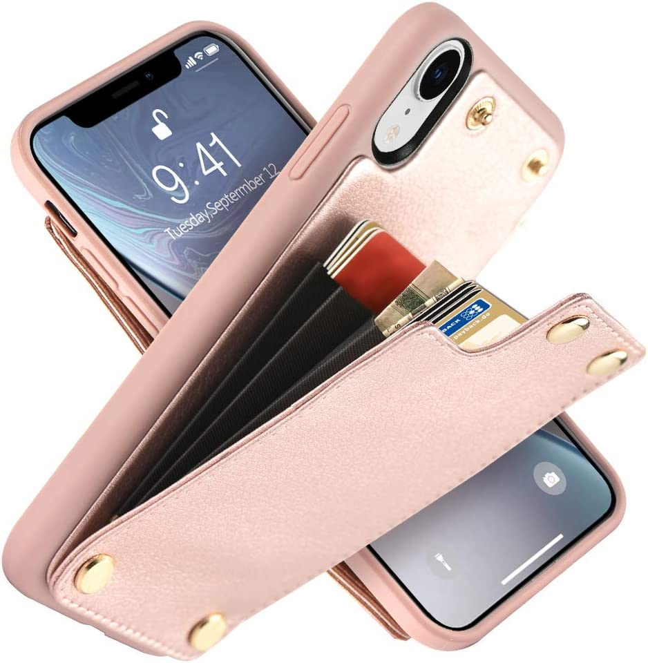 """LAMEEKU Wallet Case for Apple iPhone XR, 6.1-Inch, Shockproof Leather Credit Card Holder Slot Money Pocket Cases, Protective Bumper Phone Cover Compatible with iPhone XR 6.1"""" (2018) Rose Gold"""