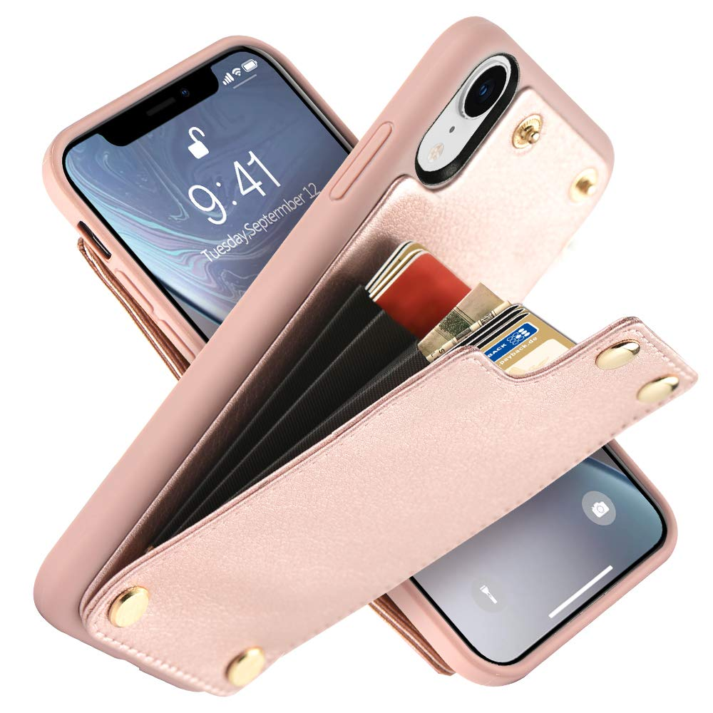 LAMEEKU Wallet Case for Apple iPhone XR, 6.1-Inch, Shockproof Leather Credit Card Holder Slot Money Pocket Cases, Protective Bumper Phone Cover Compatible with iPhone XR 6.1'' (2018) Rose Gold by LAMEEKU