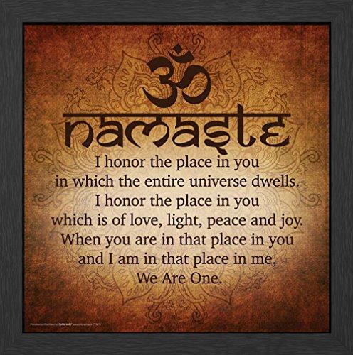Namaste Buddhist Inspirational Motivational Spiritual Yoga Quote Poster Print, Framed (Quote Framed Poster)