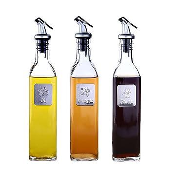aceitera y vinagrera Cocina Botella de salsa de soja de vidrio transparente Botella de vinagre a ...