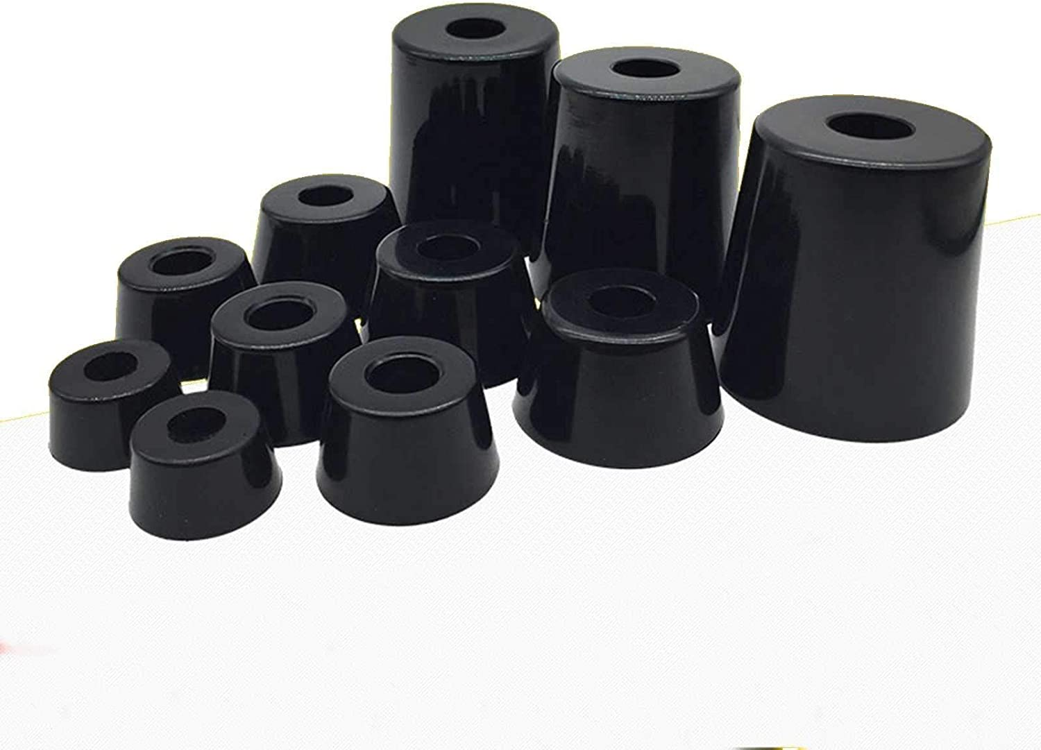 Size: 12x8x7mm Screw O//D 12mm to 50mm Black Rubber Machine Foot Pad Feet with Steel Washer Non-Slip Furniture Table Conical
