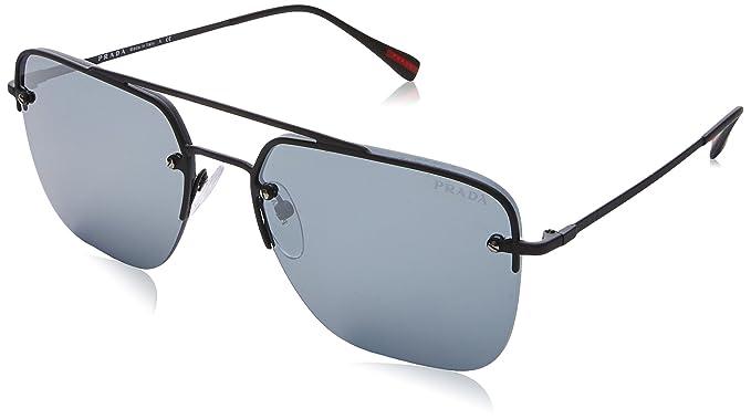 14066f4a9ceae Prada Linea Rossa Men s 0PS 54SS Black Rubber Grey Mirror Sunglasses