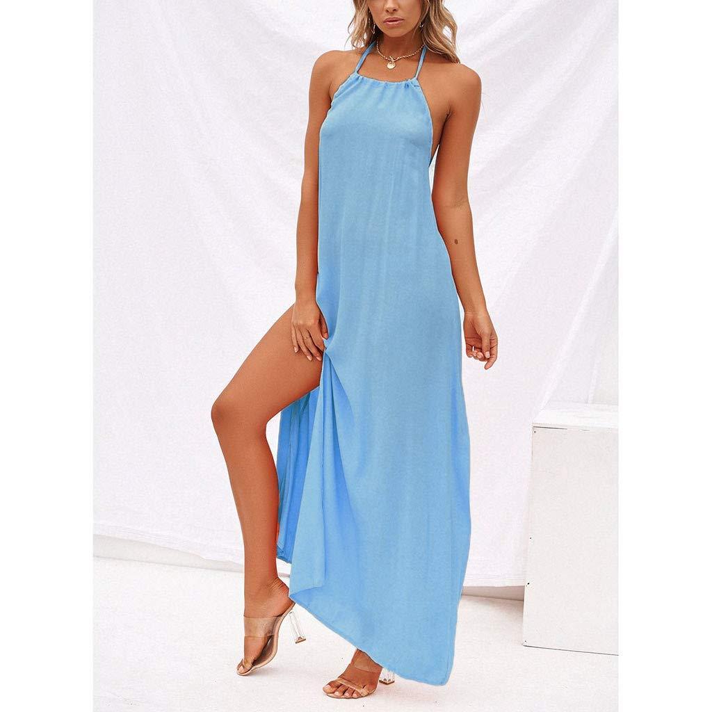 Naladoo Women Halter Lace up Dress Boho Beach Dress Summer Loose Split Sundress