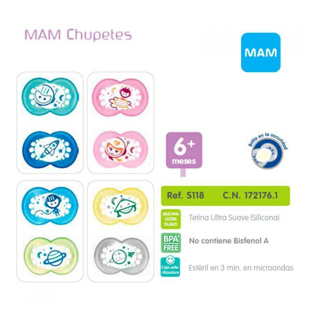MAM - Chupete Night Silicona MAM 6m+: Amazon.es: Bebé