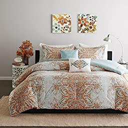 5 Piece Girls Orange Grey Blue Paisley Comforter Full Queen Set, Pretty All Over Damask Bandanna Floral Heart Dots Bedding, Stylish Girly Boho Chic Bohemian Hearts Dot Themed, Taupe Aqua Gray