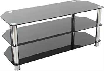 Avf Universal Black And Chrome Tv Stand For Up To 50 Amazon Co Uk