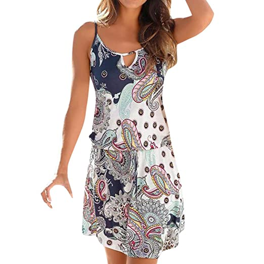 936a9f4428 Dresses for Women Casual Bohemia Printed Sleeveless O-Neck Maxi Party Beach  Dress Summer Fashion Sundress at Amazon Women's Clothing store: