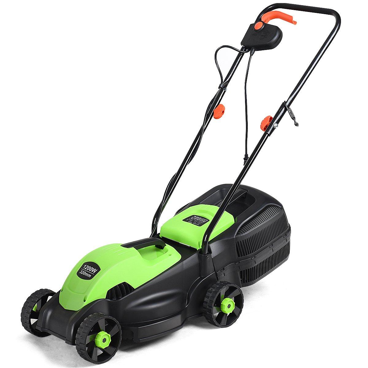 Goplus 14-Inch 12 Amp Lawn Mower w/Grass Bag Folding Handle Electric Push Lawn Corded Mower (Green)