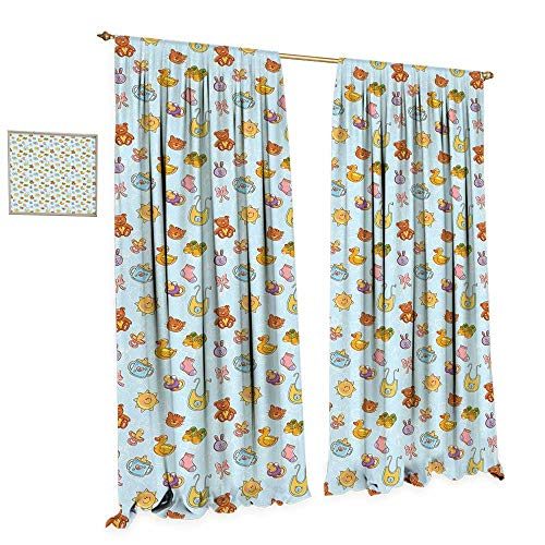 - cobeDecor Baby Thermal Insulating Blackout Curtain Newborn Sun Teddy Bear Ribbon Feeder Pacifier Chick Kitty Cat Design Patterned Drape for Glass Door W120 x L96 Pale Blue Cinnamon Apricot