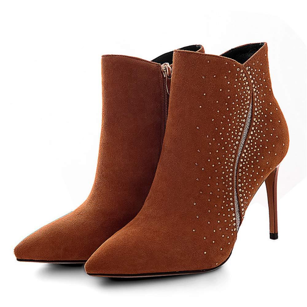 Shirloy Schaf Wildleder Lammfell Kurze Stiefel Damen Stiefel wies Plüsch Stiletto niedrig zu hochhackigen Stiefel Wild Strass helfen