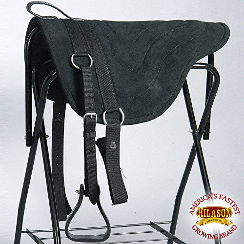(HILASON HORSEMANSHIP LEATHER BAREBACK WESTERN TREELESS SADDLE PAD BLACK )