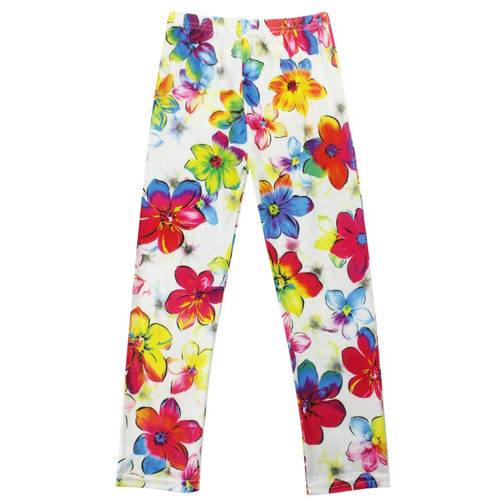 UROOM Soft Floral Girls Leggings Tights Stretchy Printed Full Length Pants Trousers Legging for Girls Kids 4-13 Years