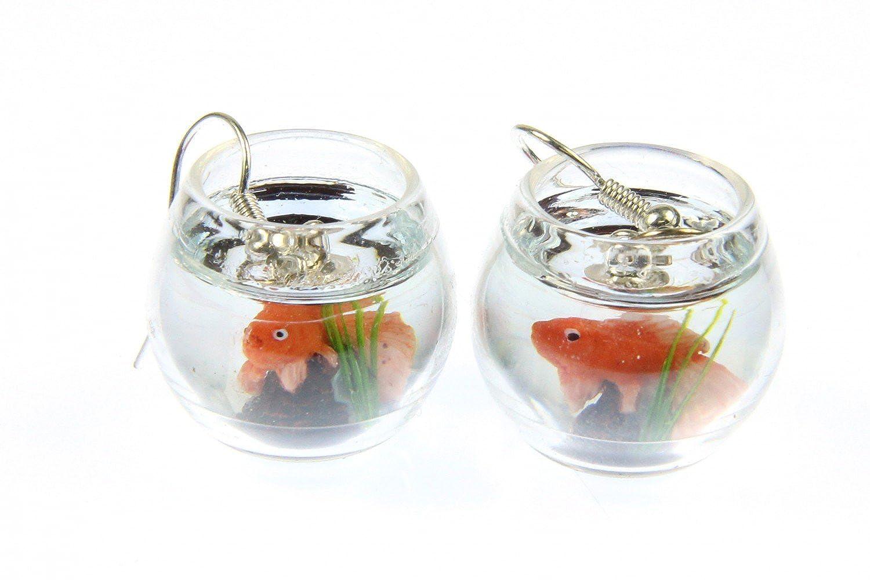 Diseño de Pez de cristal de oro pecera pendientes colgantes Miniblings de peces de acuario: Amazon.es: Joyería