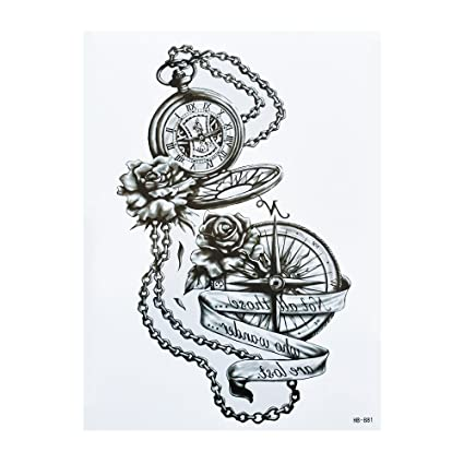 Brújula Reloj de bolsillo Tattoo Negro brazo Brazo Tattoo hb881