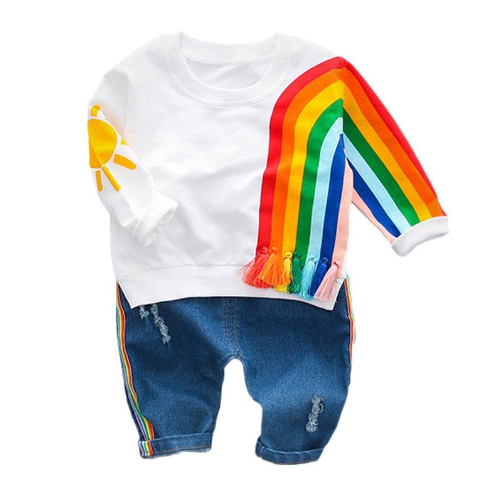 Baywell Baby Jungen Mädchen Regenbogen Print Kleidung Set, Langarmshirts + Jeans Hosen Hosen Outfits Anzug