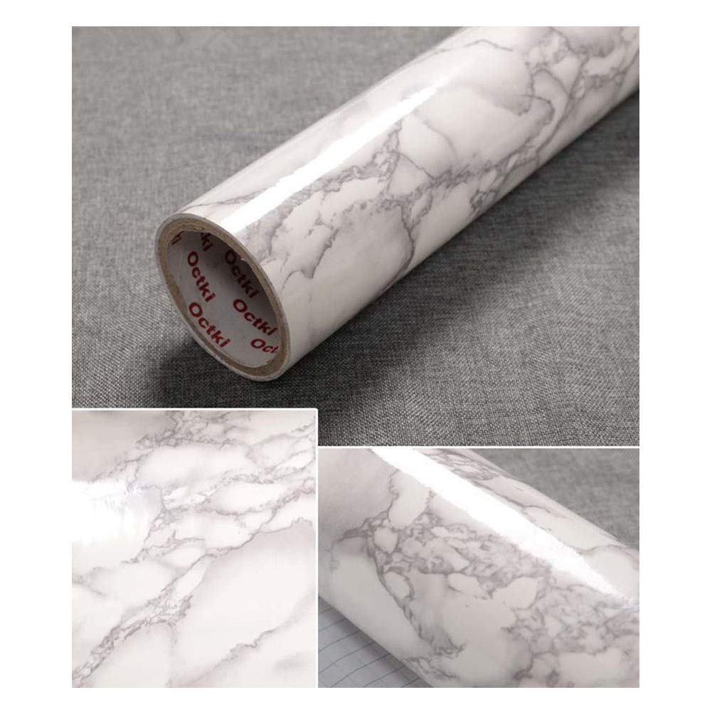 JLCorp 40cm x 200cm White Grey Marble Contact Paper Table Door Sticker Self-Adhesive Film Peel-Stick Wallpaper Gloss Countertops Shelf Liner Sticker Gray Furniture Sticker