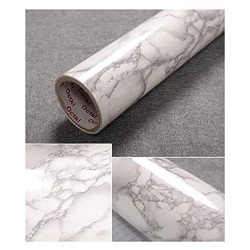 Jlcorp 40 Cm X 200 Cm Blanc Marbre Gris Contact Table Papier