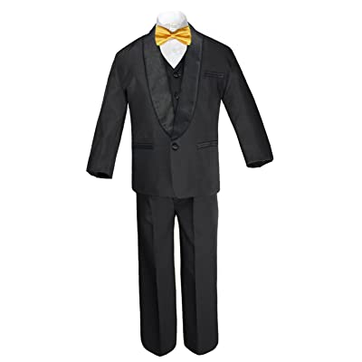 Unotux 6pc Boys Formal Satin Shawl Lapel Suit Tuxedo Yellow Bow Tie Baby to Teen