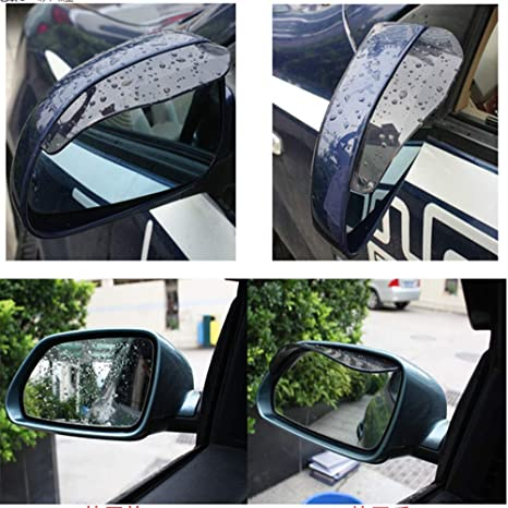 Universal Rear View Black Side Mirror Rain//Snow Shield For Car//Truck 2 Pieces
