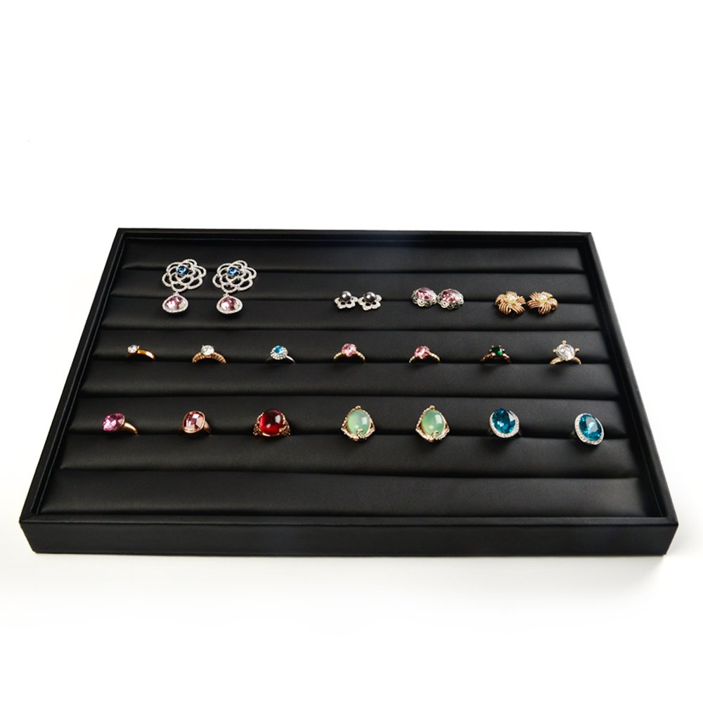 Oirlv Premium Leather Jewelry Drawer Organizer Tray Stackable Showcase Display Earring Ring Necklace Storage 7 Lines Tray