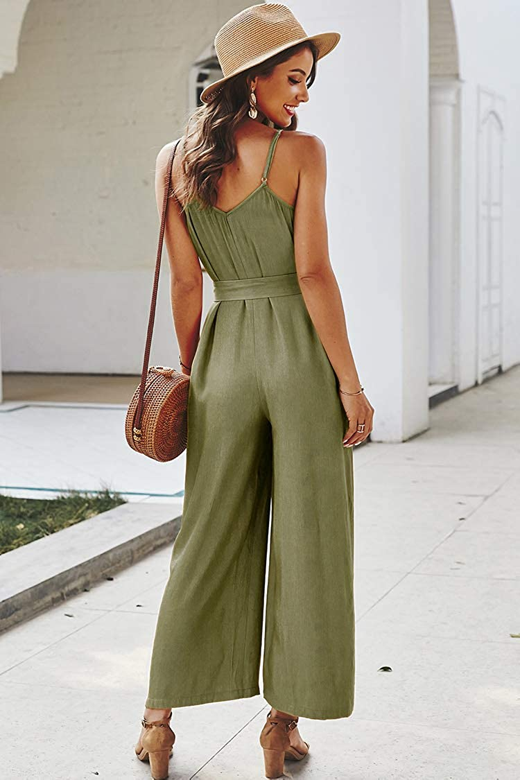 MOUTEN Women Ruffle Wide Leg Sleeveless Solid Color V-Neck Jumpsuit Romper